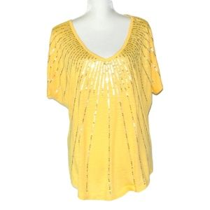 Maurices Yellow Sequins Tee Cold shoulder 16 18